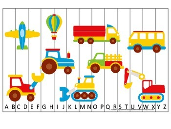 Transportation themed Alphabet Sequence Puzzle.  Preschool