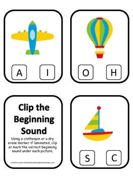 Transportation themed Beginning Sounds Clip it Cards presc