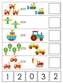 Transportation themed Math Subtraction preschool learning