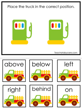 Transportation themed Positional Game.  Printable Preschoo