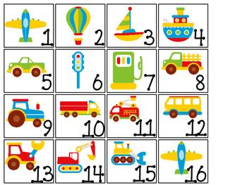Transportation themed Printable Calendar Pieces Classroom