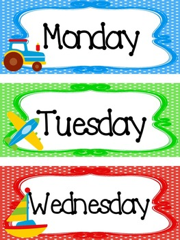 Transportation themed Printable Days of the Week Classroom