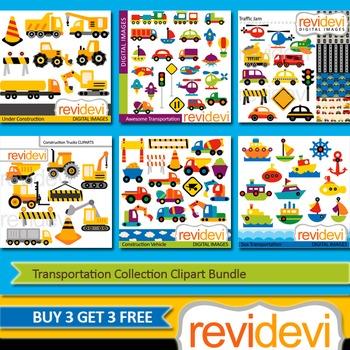 Transportation vehicle clip art (6 packs) cars, constructi