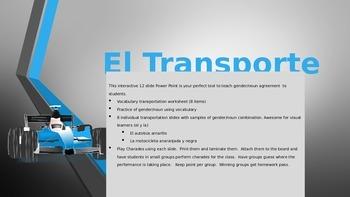 El Transporte- 12 Slide Power Point- Review Colors/ Gender