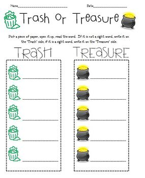Trash or Treasure with Sight Words