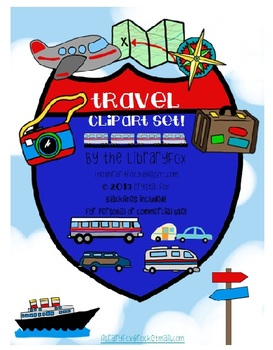 Travel and Transportation Clip Art with Blacklines included