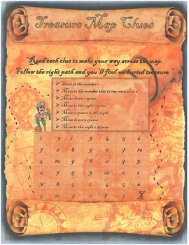 Treasure Map Clues! Numbers to 10