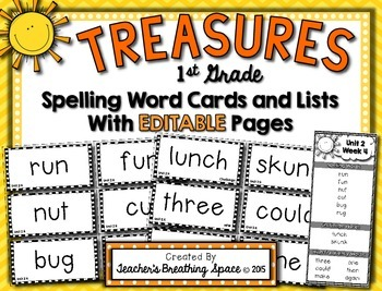 Treasures 1st Grade -- Treasures Spelling Word Cards and L