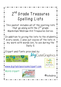 Treasures 2nd Grade Spelling Lists
