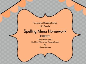 Treasures 3rd Grade Spelling Menu FREEBIE
