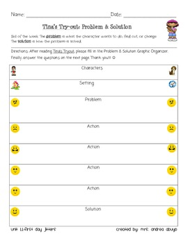 Treasures 3rd Grade-Tina's Try-out Problem Solution Chart