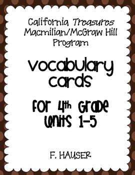 4th Grade Vocabulary Cards - TREASURES PROGRAM California Edition