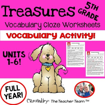 Treasures 5th Grade Cloze - Fill in the Blank Worksheets U
