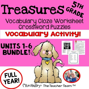 Treasures 5th Grade Cloze Worksheets and Crossword Puzzles Bundle