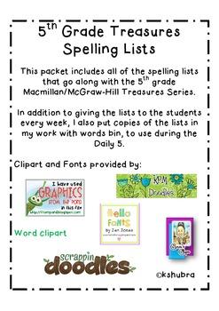 Treasures 5th Grade Spelling Lists