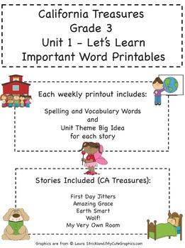 Treasures - Grade 3 - Units 1-6 Spelling Word Lists