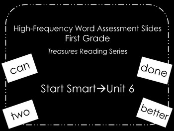 Treasures HF Words Assessment Slides with Recording Sheet-
