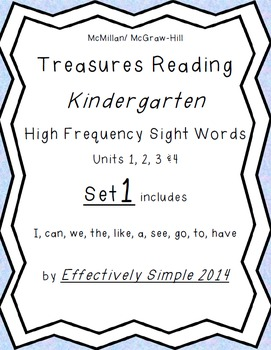 Treasures K series High Frequency Sight Words Set#1