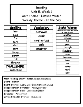 Treasures Reading Series First Grade Weekly Outline Unit 5