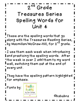 Treasures Spelling Words and Patterns (Unit 4)
