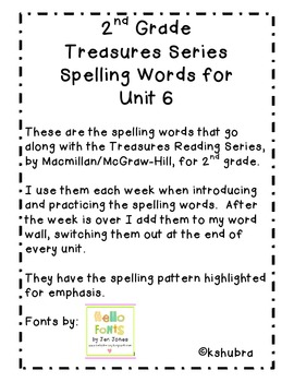 Treasures Spelling Words and Patterns (Unit 6)