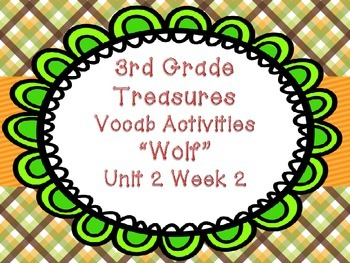 "Treasures Third Grade Unit 2 Week 2 ""Wolf"" Vocabulary Game"