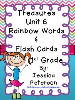 Treasures Unit 6 Rainbow Words & Spelling Flash Cards {1st Grade}