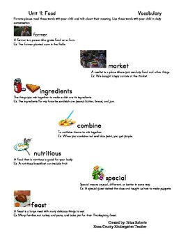 Treasures Vocabulary unit four-food