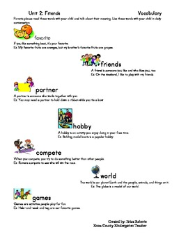 Treasures Vocabulary unit two-Friends
