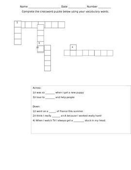 Treasures unit 2 week 4 vocabulary crossword