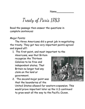 Treaty of Paris 1783 Reading Passage with Questions