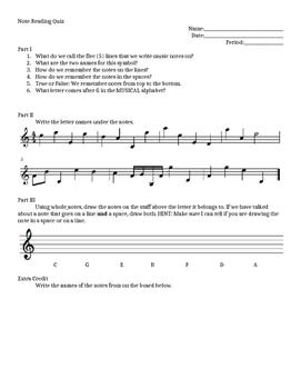 Treble Clef Note Reading Quiz