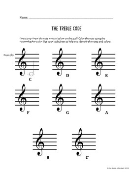 Treble Clef Reading and Writing Activity-Treble Code