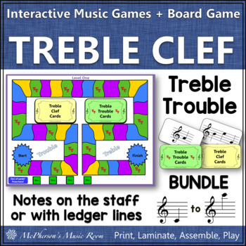 Treble Clef Treble Trouble Bundle {game for reviewing note names}