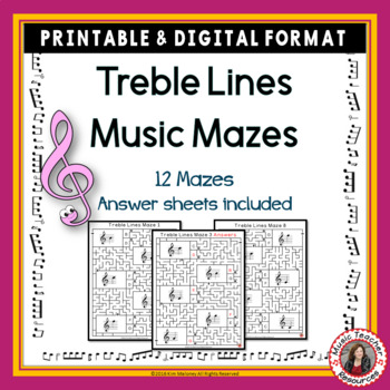 Treble Pitch Maze Puzzles for Treble Note Lines