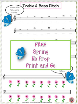 Treble and Bass Pitch with a SPRING Theme