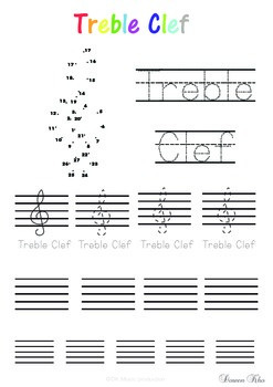 Treble and bass clef tracing worksheet.