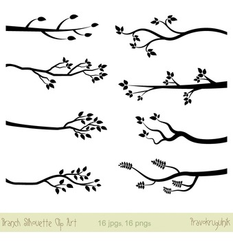 Tree Branch Silhouettes Clip Art, Black Twigs with Leaves,