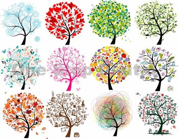 Tree Clip Art Digital Colorful Trees Clipart Image 12 mont