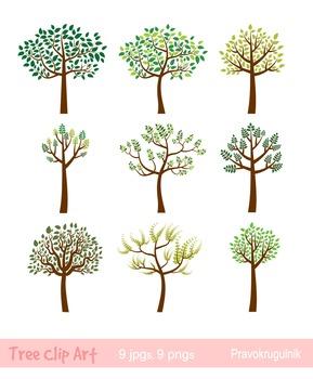 Tree clipart, Whimsical tree clip art, Spring tree, Summer