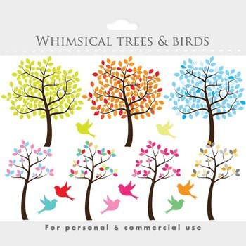 Tree clipart - tree clip art whimsical, cute, sweet, birds