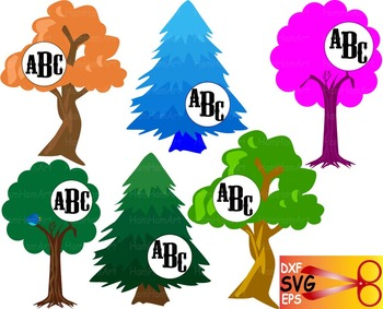 Trees Silhouette EPS SVG DXF school cutting xmas arbor bio