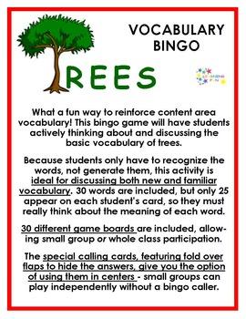Trees Vocabulary Bingo