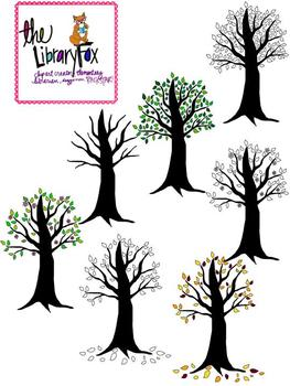 Trees for every season with blacklines for Personal or Com