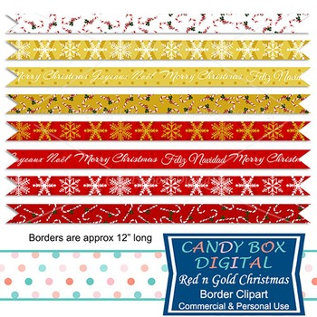 Trendy Red and Gold Digital Ribbon Border Clip Art