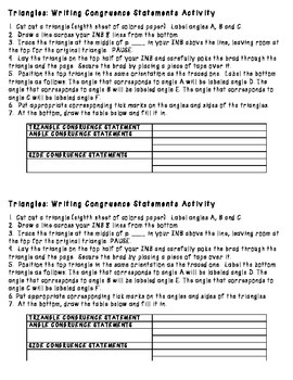 Triangles: Writing Congruence Statements Activity