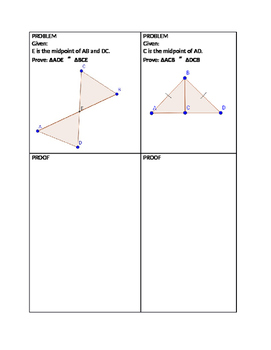Triangle Congruency Matching Proofs SSS, SAS