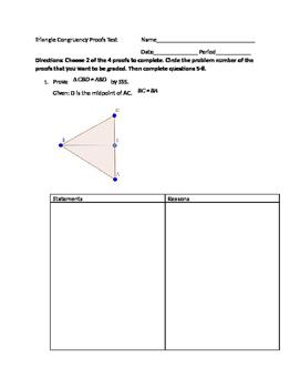 Triangle Congruency Proofs Test