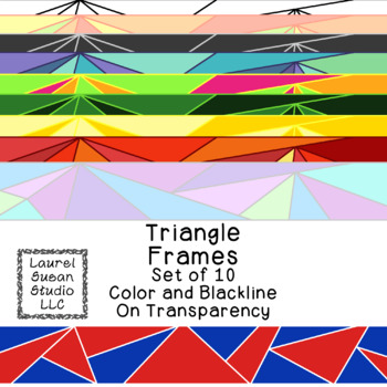 Triangle Frames Clip Art PNG JPG Blackline Included Commer