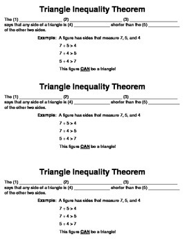 Triangle Inequality Theorem Guided Notes